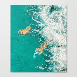 Big Cat Tiger Surfing At Beach Canvas Print