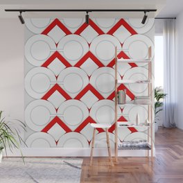 White Circles And Red Squares Abstract Geometric Pattern Wall Mural