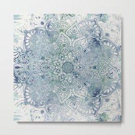 Yoga, Mandala, Green and Blue, Wall Art Boho Metal Print