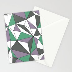 Geo - purple, green, gray and white. Stationery Cards