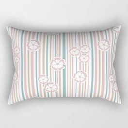 Retro . The floral pattern on striped background . Rectangular Pillow