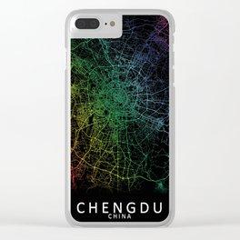 Chengdu, Sichuan, China, City, Map, Rainbow, Map, Art, Print Clear iPhone Case