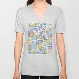 Pastel Tetris Monsters Unisex V-Neck