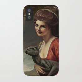 Lady Hamilton with velociraptor  iPhone Case
