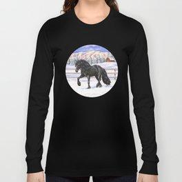 Friesian Horse Trotting In Snow Long Sleeve T-shirt