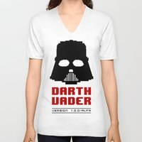 8 bit V-neck T-shirts featuring 8-bit Darth Vader by Sylwia Borkowska