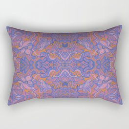 Birds Arabesque, Bohemian Pattern, Cobalt Rose Mauve Rectangular Pillow