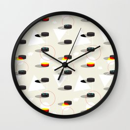 Pucks & Geometries #society6 #hockey #sport Wall Clock