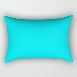 The Future Is Bright Light-Blue - Vivid Cyan  - Solid Color Rectangular Pillow