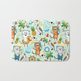 Summer sea picture with a cat and pelican Bath Mat