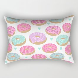 Donut hearts pastel colors love happy hipster foodie funny valentines day Rectangular Pillow
