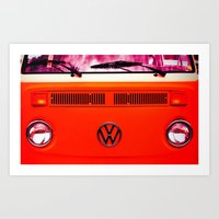 volkswagon Art Prints featuring  Volkswagon Bug Van by Lavender~Ramonde