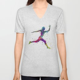 Woman runner running jumping Unisex V-Neck