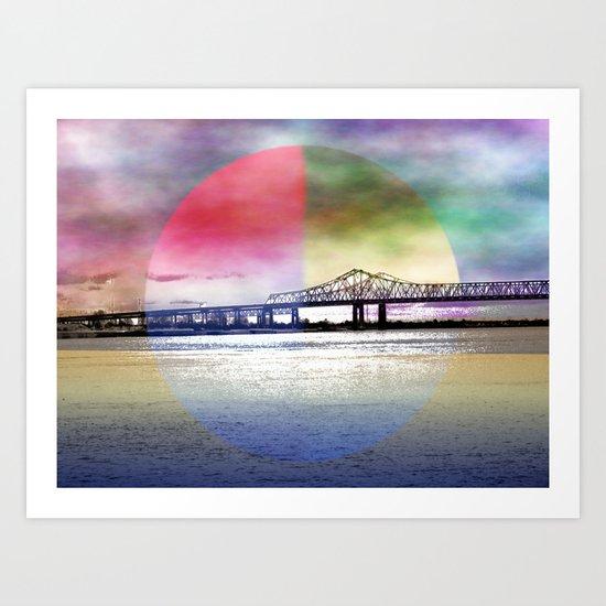 Crescent City Connection Bridge Art Print
