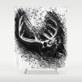 Deer Skull Inksplash Shower Curtain
