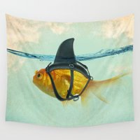 aqua Wall Tapestries featuring Brilliant DISGUISE by Vin Zzep