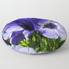 Two Blue Mauve Anemone - Close Up Windflowers  Floor Pillow