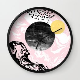 Gloriana - galaxy outer space abstract painting planets moon sun black and white pastel pink gold  Wall Clock