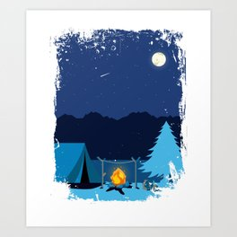 Camping Tent in Moonlight with Campfire Art Print