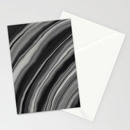 Liquid Black Gray White Agate Dream #2 #gem #decor #art #society6 Stationery Cards