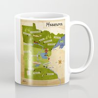 minnesota Mugs featuring Minnesota Map by Carpcake