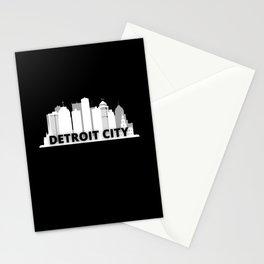 Detroit City Skyscraper Skyline Stationery Cards
