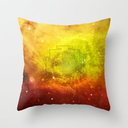 Sri Yantra on a Watercolor Yellow Red Background Throw Pillow