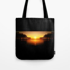 Pier Mirrored Sunset Tote Bag