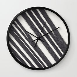 Black and white lines / textured abstract fine art photography print Wall Clock