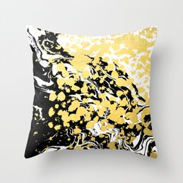 Sukie - abstract gold black and white foil glitter shiny sparkle hipster painting free spirit cosmic Throw Pillow