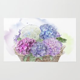 hydrangea flowers in a basket . watercolor painting Rug