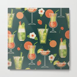 Cheeky Cocktails Pattern - Kitschy Bar Drinks in Vibrant Citrus Palette on Blue Metal Print
