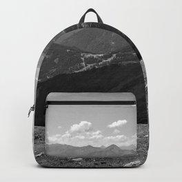 panorama on adventure park hög alps serfaus fiss ladis tyrol austria europe black white Backpack
