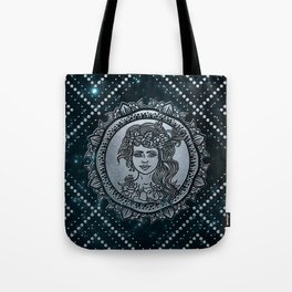 Virgo Zodiac Silver Embossed on the Star sky Tote Bag
