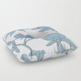 Roses in Blue Floor Pillow