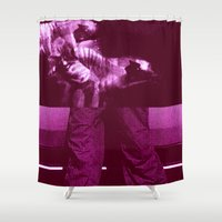 burgundy Shower Curtains featuring chase burgundy by r.e.f.r.a.c.t.i.o.n