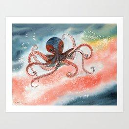 Octopus Watercolor Art Print