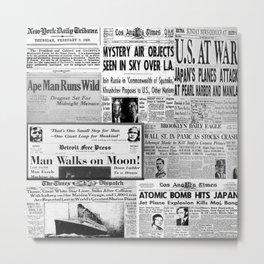 Vintage News Headlines Metal Print