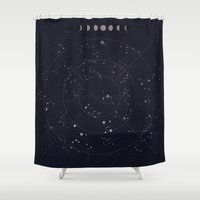 constellations Shower Curtains featuring Constellations by Seana Seeto