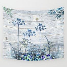 Rustic Barn Wood Series: Blue Farm Flowers Wall Tapestry