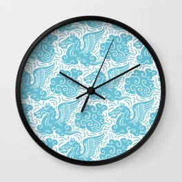 Pegasus Pattern Light Blue Wall Clock