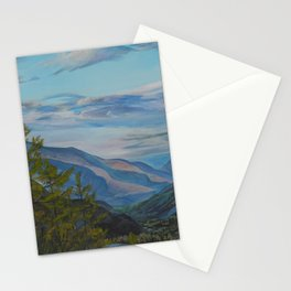 Evening in the mountains Stationery Cards
