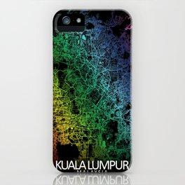 Kuala Lumpur, Malaysia, City, Map, Rainbow, Map, Art, Print iPhone Case