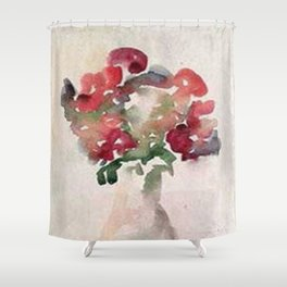 Red Flower Watercolor Shower Curtain