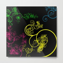 Neon Loopy Metal Print