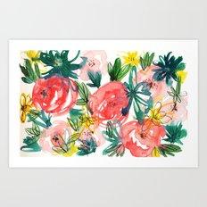 Pink, Red Roses Art Print