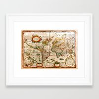 vintage map Framed Art Prints featuring Vintage Map by Diego Tirigall