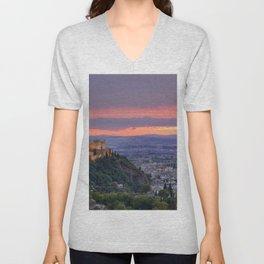 The alhambra and Granada city at sunset Unisex V-Neck