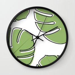 Monstera Leaf Pattern Wall Clock