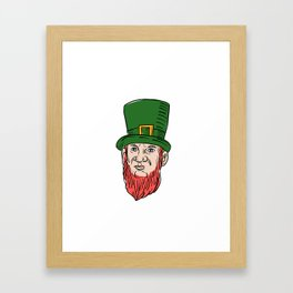 Irish Leprechaun Wearing Top Hat Drawing Framed Art Print